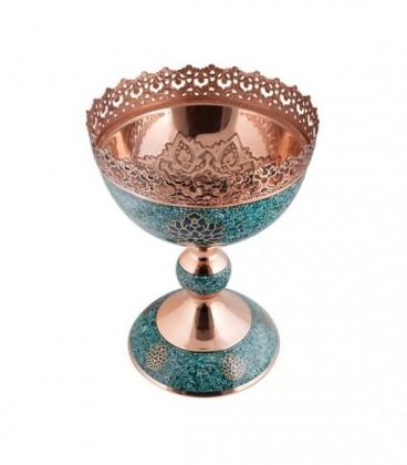 خرید آجیل خوری فیروزه کوبی روی مس ترنج بزرگ تولید صنایع دستی آقاجانی