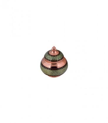 خرید قندان کوچک مس و خاتم کاری آقاجانی کد K023 از پرفروش ترین صنایع دستی اصفهان