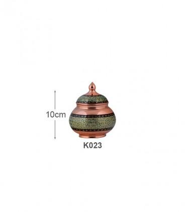 قندان کوچک مس و خاتم کاری آقاجانی کد K023 از پرفروش ترین صنایع دستی اصفهان